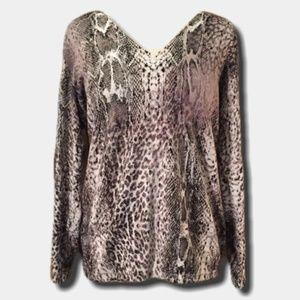 Lane Bryant V Neck Snake Print Sweater